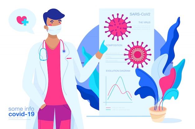 Covid-19 фон с доктором, объясняя вирус Бесплатные векторы