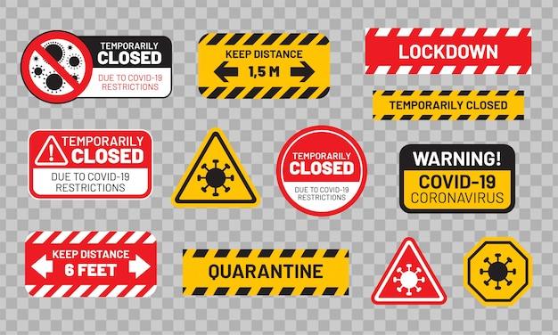 Карантинный знак установлен для covid-19 (коронавирус). наклейки или наклейки «карантин», «временно закрыто», «блокировка», «держать дистанцию» и т. д. Premium векторы