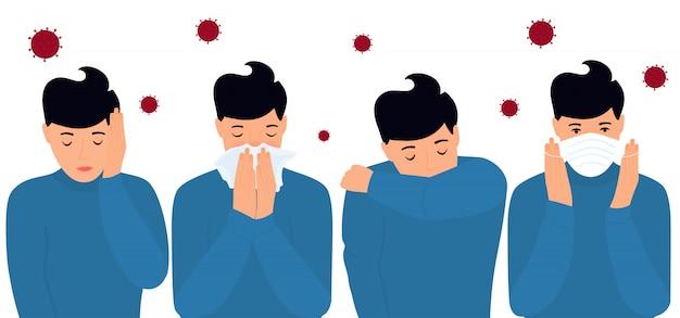 Covid-19. коронавирусная профилактика и симптомы. головная боль. мужчина надевает защитную маску, чихает на локоть, в салфетку. Premium векторы