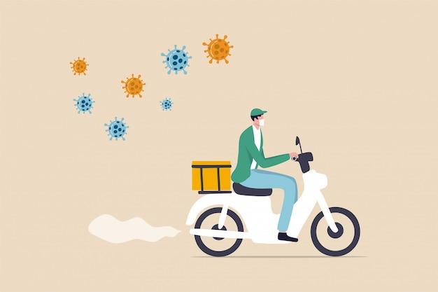 食品配達、自転車配達、コロナウイルス発生時の食料品、食料品、食料品配達、社会的距離の離れた人々は宅配便で宅配食品をオンラインで注文し、自転車に乗る男は食品配達、covid-19ウイルスを提供します。 Premiumベクター