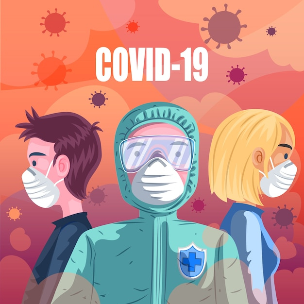 Концепция пандемии covid 19 Бесплатные векторы