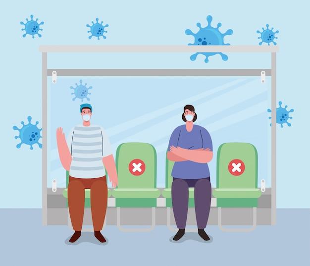 バス停の人々との社会的距離、乗客を待っているバス停、多様な通勤者が一緒にいる都市のコミュニティ輸送、予防コロナウイルスcovid-19 Premiumベクター