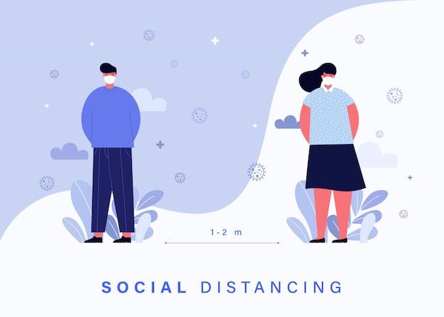 Covid-19コロナウイルスの蔓延から人々を守るための社会的距離概念。 無料ベクター