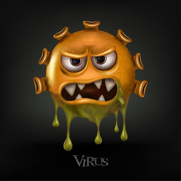 Клетки вируса covid-19 или вирус короны и бактерии закрывают вверх изолированный на черной предпосылке. Premium векторы
