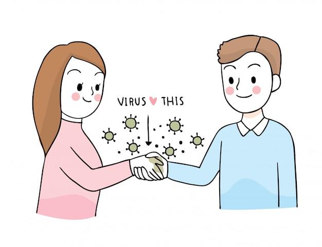 Мультфильм милый коронавирус, covid-19, женщина, приветствующая рукопожатие с другом Premium векторы