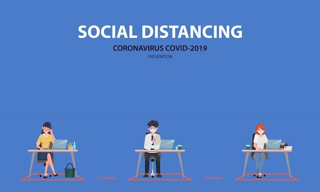 Деловые люди офиса поддерживают социальное дистанцирование. стоп covid-19 коронавирус. Premium векторы