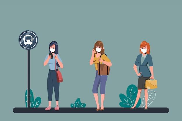 Люди проводят социальные дистанции на автобусной остановке во время covid-19. коронавирусная вспышка нового нормального образа жизни. Premium векторы