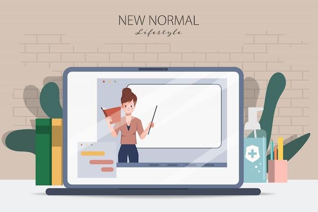 Ноутбук представляет онлайн-образование. вернуться в школу во время covid-19. оставайся дома и учись. электронное обучение или электронная книга концепции. Premium векторы