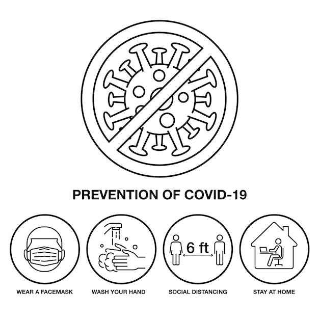 Covid-19、記号と記号のストローク線のアイコン防止を設定します。 Premiumベクター