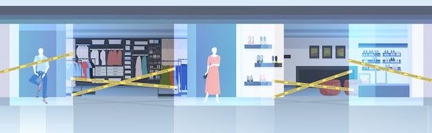 Пустой торговый центр с желтой лентой коронавирусной пандемии карантин концепция covid-19 Premium векторы
