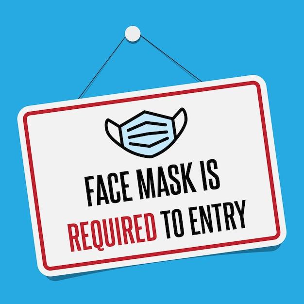 Нет лицевой маски. никакой входной знак. информационный предупредительный знак о карантинных мероприятиях в общественных местах. ограничение и осторожность covid-19. Premium векторы