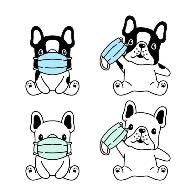 Собака французский бульдог маска для лица коронавирус covid-19 мультфильм Premium векторы