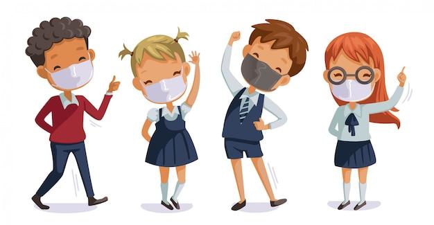 Снова в школу для новой нормальной концепции для covid-19. дети в форме носят санитарные маски. жест студентов. связанный с коронавирусом Premium векторы