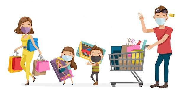 Семейная маска покупки. новая нормальная концепция. противоэпидемическая иллюстрация, covid-19 для универмагов. родители и дети в хирургической маске. социальное дистанцирование и новая нормальная концепция. Premium векторы