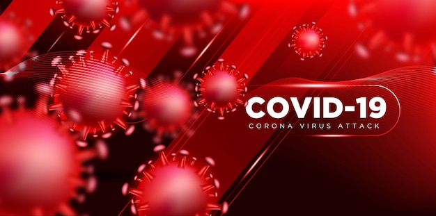 Covid coronavirus in real 3d illustration concept to describe about corona virus attack. Free Vector