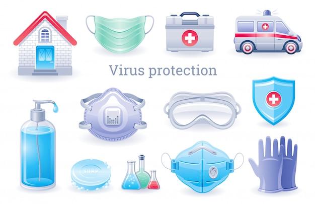 Значок защиты от вирусов. вирус короны covid профилактики коллекции, набор медицинских элементов ppe. Premium векторы