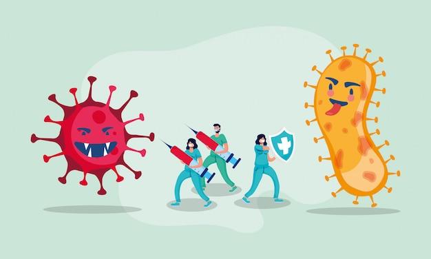 Covid19パンデミック粒子と医師およびワクチン Premiumベクター
