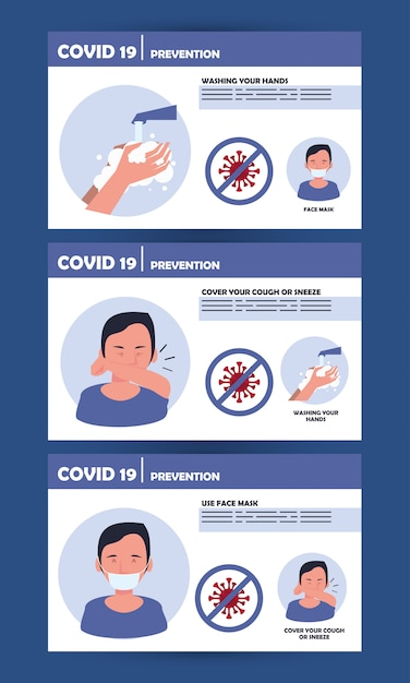 Covid19 pandemic prevention methods poster Premium Vector