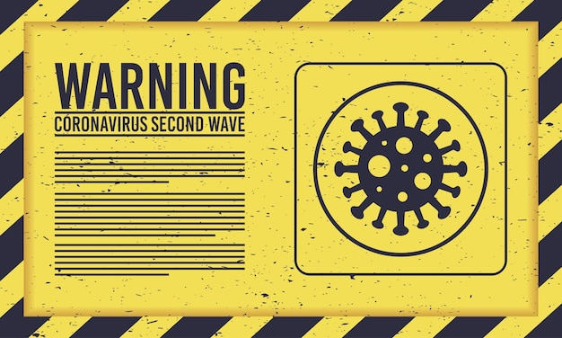 黄色の記号でウイルス粒子とcovid19第2波キャンペーン Premiumベクター