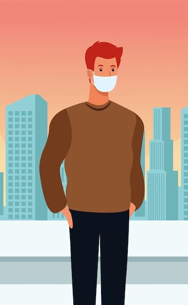 都市のcovid19のフェイスマスクを使用している人 Premiumベクター