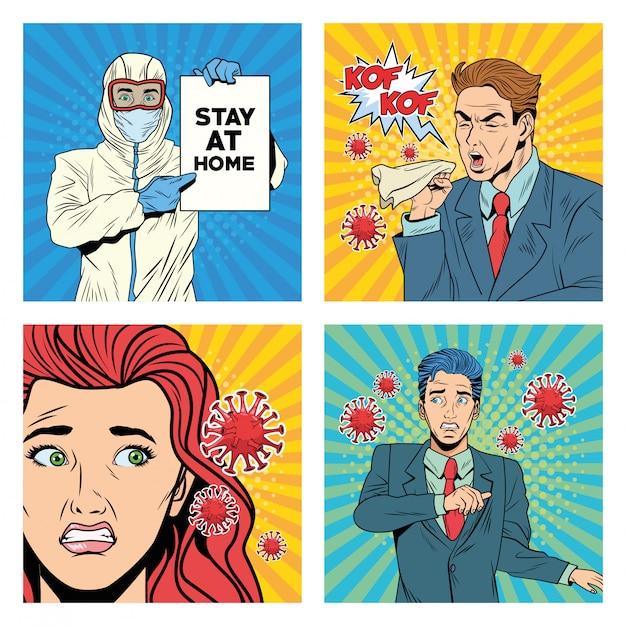 Люди с пандемическими персонажами covid19 в стиле поп-арт Premium векторы