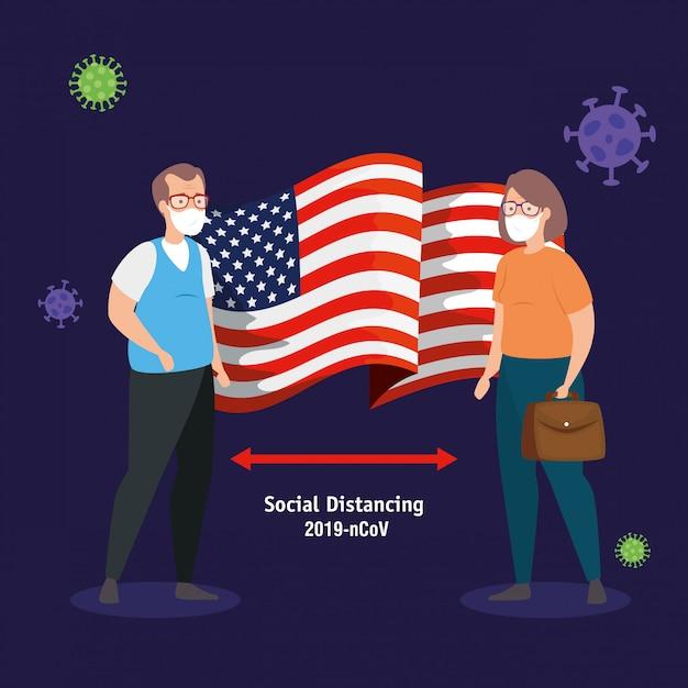 米国旗covid19パンデミックとカップルします。 無料ベクター