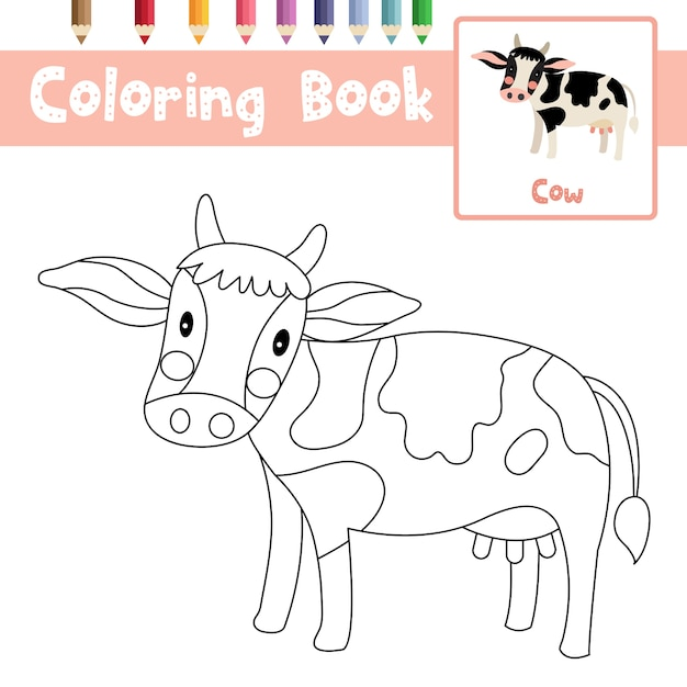 Cow animal coloring page Premium Vector