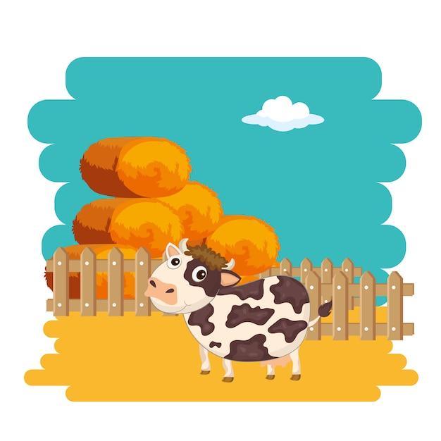 Cow next to bale of hay Premium Vector