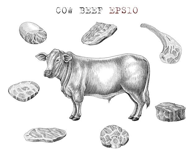 암소 쇠고기 요소 흑백 스타일 조각 설정 무료 벡터