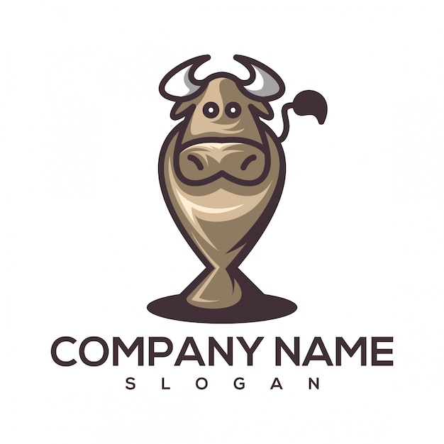 Cow cup logo Premium Vector