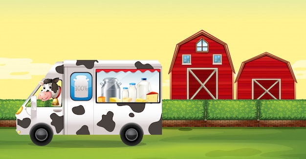Cow driving milk truck on the farm Free Vector