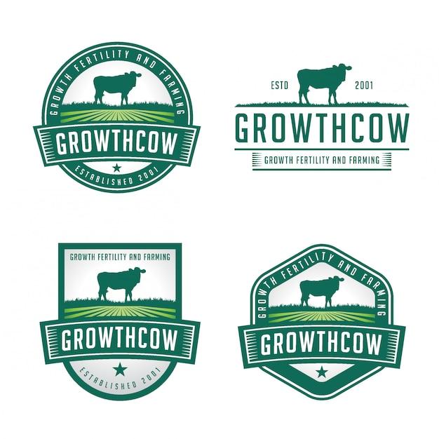 Cow farming badgeロゴバンドル Premiumベクター