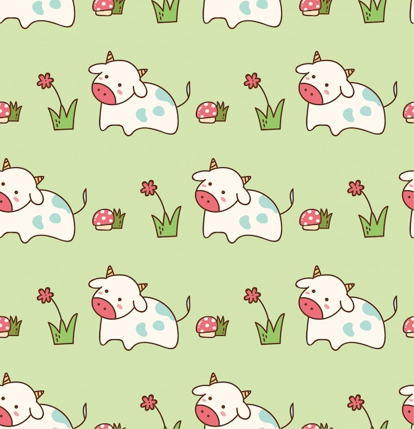 Cow in the grass with flower and mushroom seamless pattern Premium Vector