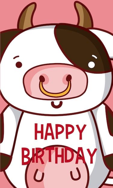 Cow Happy Birthday Cute Card Cartoons Vector Premium Download