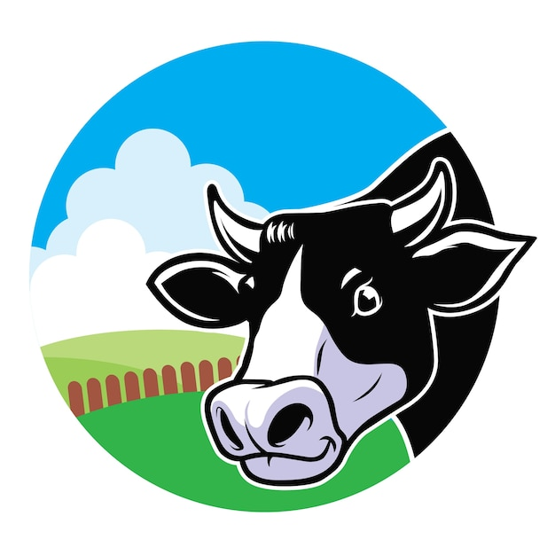 Cow head with grassland background Premium Vector