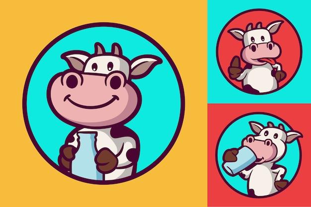 牛はボトルを保持し、幸せな牛と牛は動物のロゴのマスコットイラストパックを飲みます Premiumベクター