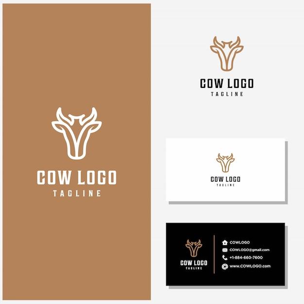 Корова дизайн логотипа вектор и визитки Premium векторы