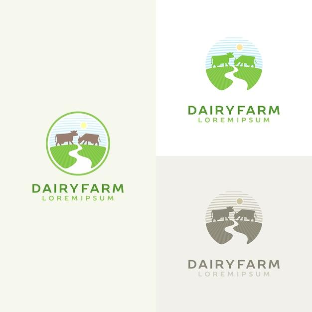 牛のロゴセット。農場の牛乳のエンブレム。乳製品のロゴタイプ。 Premiumベクター