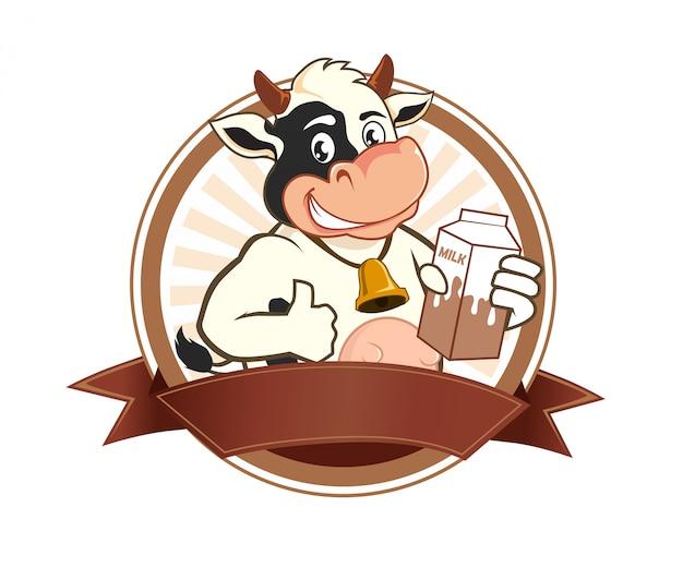 牛乳ロゴ漫画 Premiumベクター