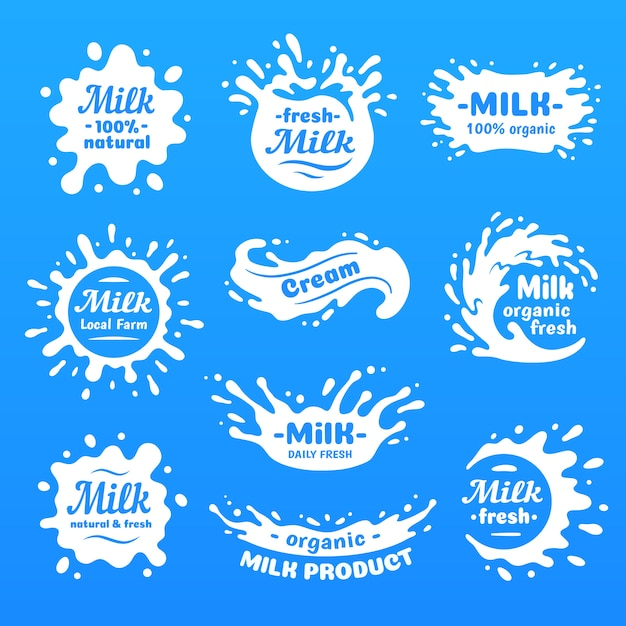 Cow milk splashes with letters. isolated milks splash for health food store, dairy logo vector label Premium Vector