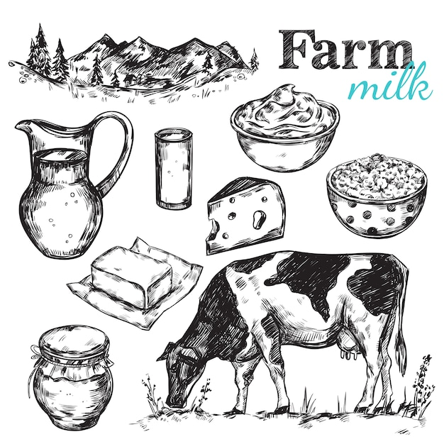 Cow and nature milk sketch Free Vector