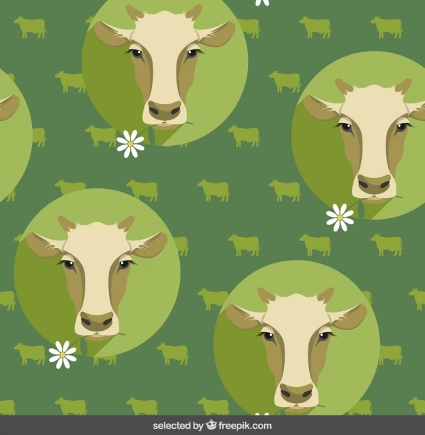 Cow pattern in flat design style Free Vector