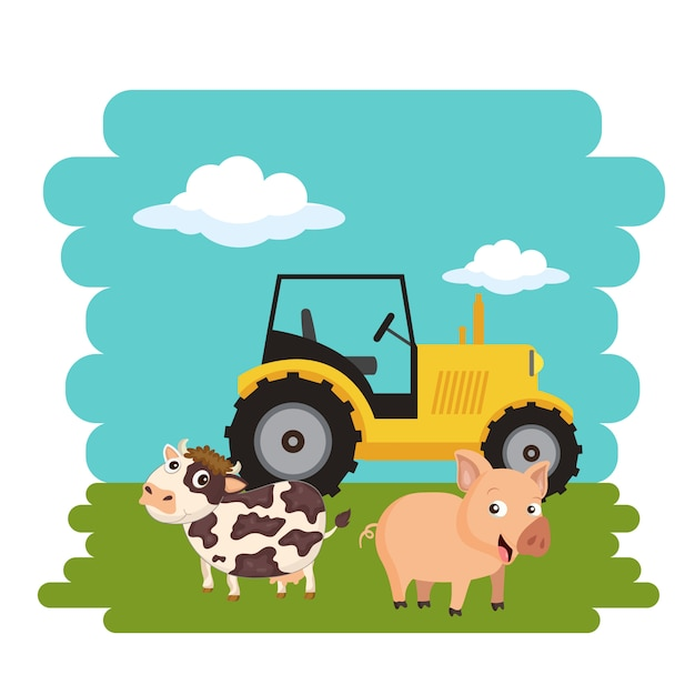 Cow and pig standing next to tractor Premium Vector