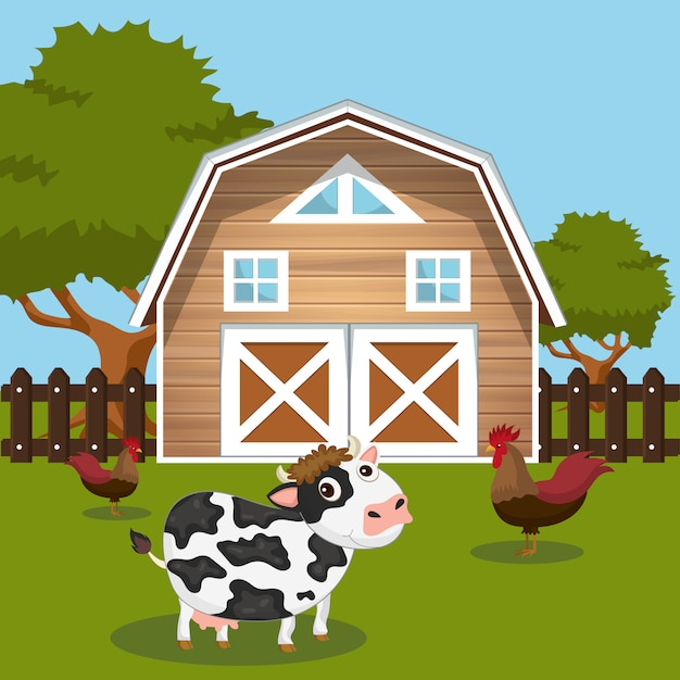 Cow and roosters in farmyard Premium Vector