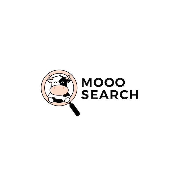 Cow search seo logo vector illustration icon Premium Vector