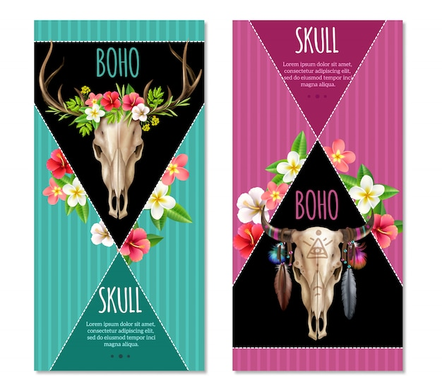 Cow skull banners set Free Vector