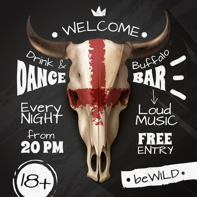 Cow skull poster Free Vector
