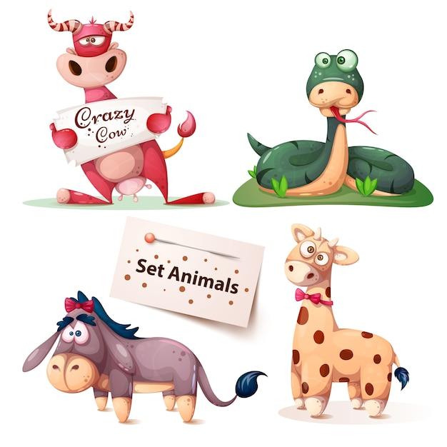 Cow, snake, donkey giraffe - set animals Premium Vector