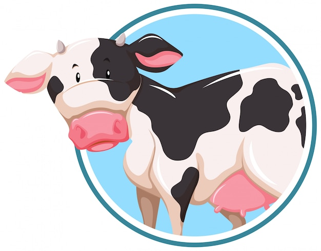 A cow on sticker template Free Vector