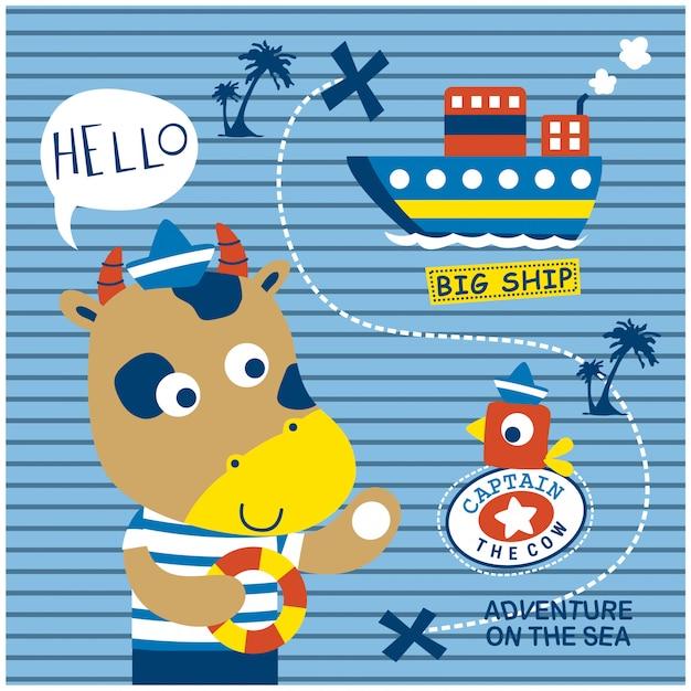 船乗り面白い動物漫画、ベクトルイラストを牛します。 Premiumベクター